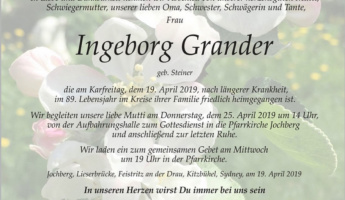 Ruhe in Frieden Ingeborg Grander